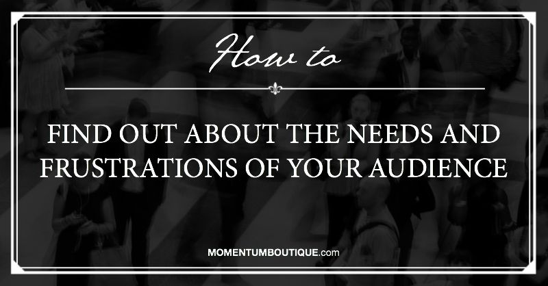 Needs and Frustrations of your audience